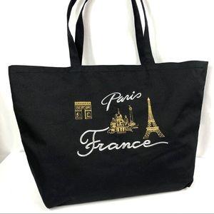 Tote Paris France Bag Embroidery Black  Canvas